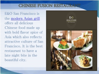 Chinese Fusion Restaurant San Francisco