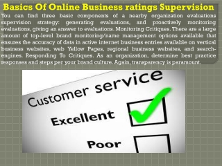 Basics Of Online Business ratings Supervision