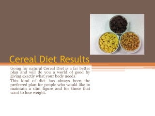 Cereal Diet Plan