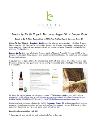Beauty by Earth Organic Moroccan Argan Oil – Coupon Code