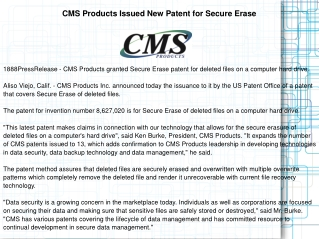 CMS Products Issued New Patent for Secure Erase