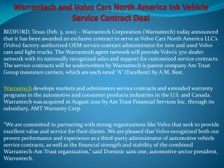 Warrantech and Volvo Cars North America Ink Vehicle Service