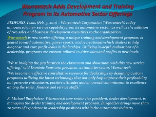 Warrantech Adds Development and Training Program to its Auto