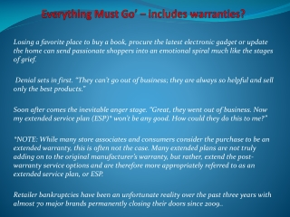 Everything Must Go' – includes warranties