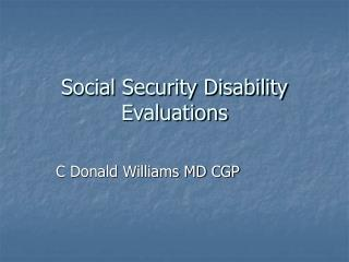 social security disability evaluations