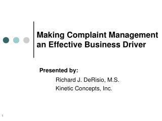 making complaint management an effective business driver