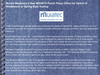 Murata Machinery's New M2048TS Punch Press