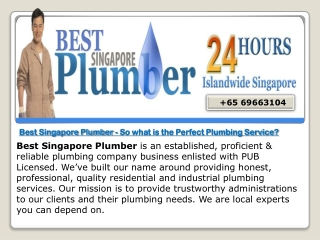 One Call plumbing service in Singapore.