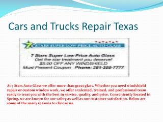 Cars and Trucks Repair Texas