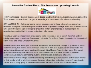 Innovative Student Rental Site Announces Upcoming Launch