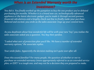 When is an Extended Warranty Worth the Investment