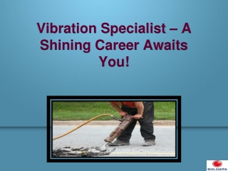 Vibration Specialist � A Shining Career Awaits You!