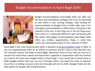 Budget Accommodation in Karol Bagh Delhi