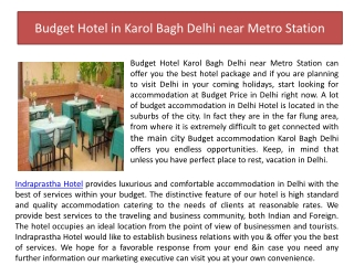 Budget Hotel in Karol Bagh Delhi near Metro Station