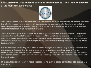 SBGA Provides Cost-Effective Solutions for Members