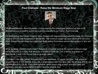 Paul Chehade - Raise the Minimum Wage Now