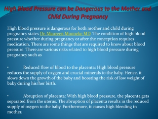 High Blood Pressure can be Dangerous to the Mother and Child