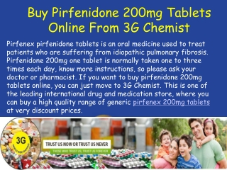 Buy Pirfenidone 200mg Tablets - Prevent Idiopathic Pulmonary