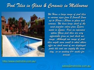 Pool Tiles in Glass