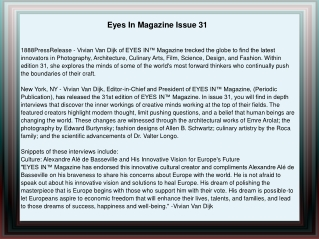 Eyes In Magazine Issue 31