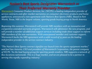 Nation's Best Sports Designates Warrantech as Their Preferre