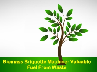 Biomass Briquette Machine- Valuable Fuel From Waste