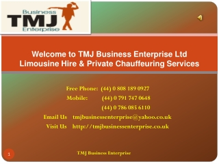 Chauffer Serviced in London - TMJ Business Enterprise