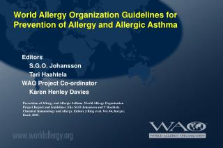 world allergy organization guidelines for prevention of allergy ...