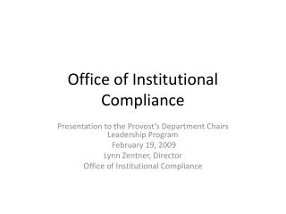 office of institutional compliance