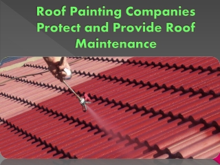 Roof Painting Companies Protect and Provide Roof Maintenance