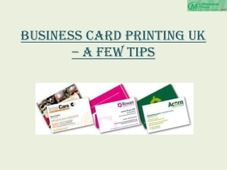 Business Card Printing UK – A Few Tips