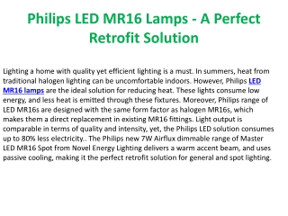 Philips LED MR16 Lamps - A Perfect Retrofit Solution