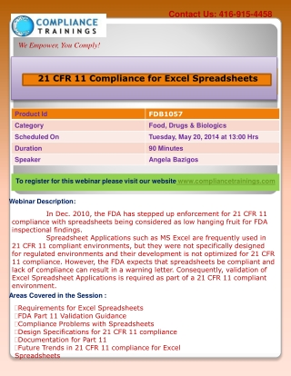 Webinar On 21 CFR 11 Compliance for Excel Spreadsheets