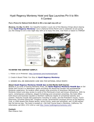 Hyatt Regency Monterey Hotel and Spa Launches Pin It to Win
