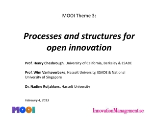 Process and structure for open Innovation