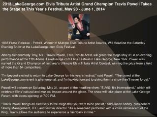 2013 LakeGeorge.com Elvis Tribute Artist Grand Champion