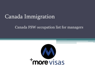 Canada FSW occupation list for managers | MoreVisas