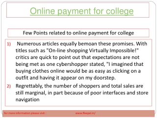 A best  guide for  how to submitted online payment for colle