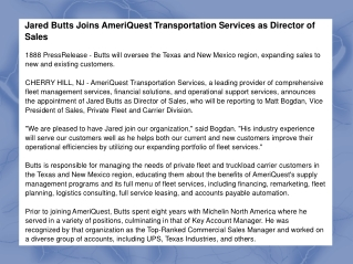 Jared Butts Joins AmeriQuest Transportation Services