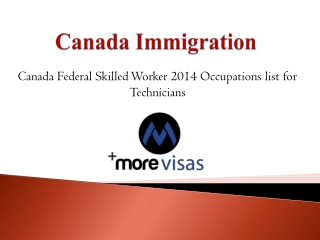 Canada FSW 2014 Occupations list for Technicians