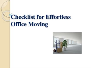 Checklist for Easy Office Moving