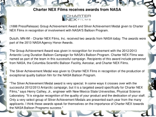 Charter NEX Films receives awards from NASA