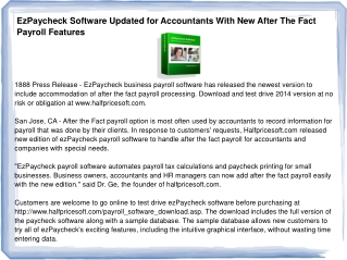 EzPaycheck Software Updated for Accountants