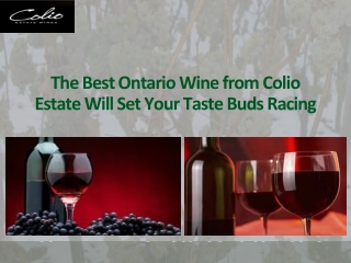 The Best Ontario Wine from Colio Estate Will Set Your Taste Buds Racing