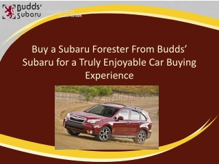 Buy a Subaru Forester from Budds� Subaru for a Truly Enjoyable Car Buying Experience