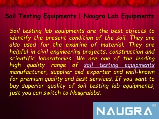 What Are the benefits of Soil Testing Lab Equipments?