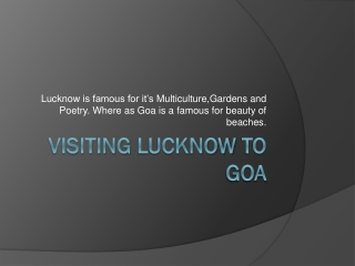 Find Affordable air tickets for Flights from Lucknow to Goa