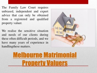 Matrimonial Property Valuations Melbourne