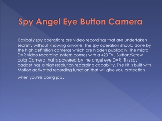 Spy Angel Eye Button Camera