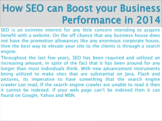 How SEO can Boost your Business Performance in 2014